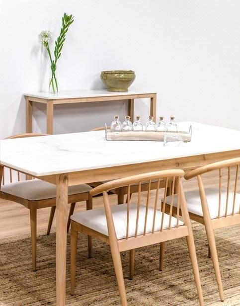 Mesa de madera y m rmol blanco cube deco tienda de - Mesas de marmol y cristal ...