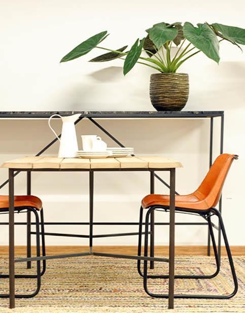 Mesa de madera y m rmol blanco cube deco for Como limpiar una mesa de marmol manchada