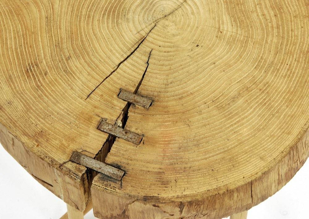 Mesa tronco acacia cube deco for Mesa tronco