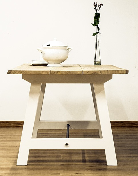 Mesa madera eucalipto y acero - Cube Deco: Tienda de muebles de ...
