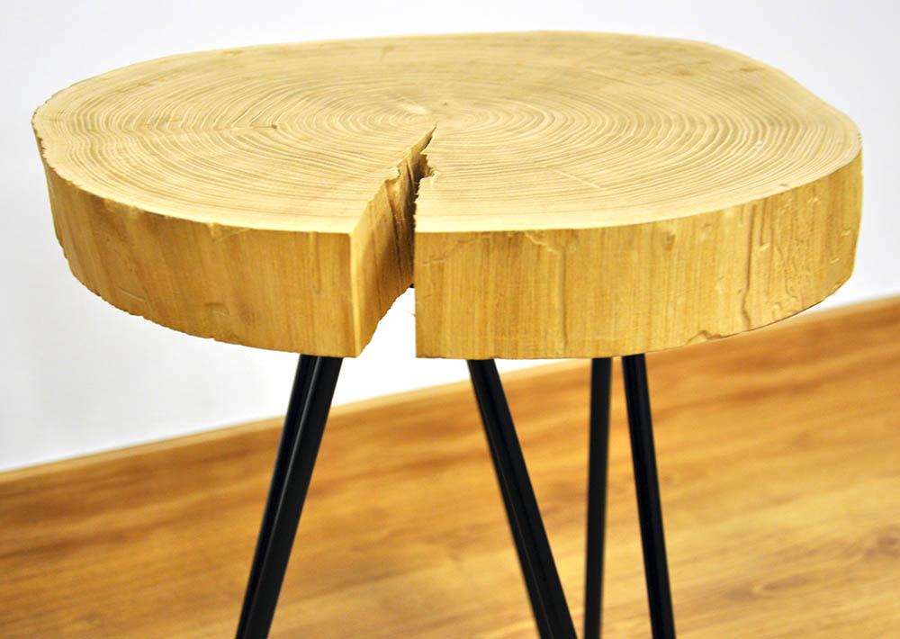 Mesa acacia y acero cube deco - Mesa de tronco ...