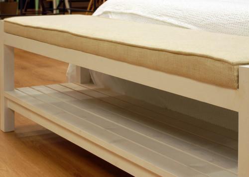 Banco de lino para dormitorio cube deco - Banco de madera blanco ...