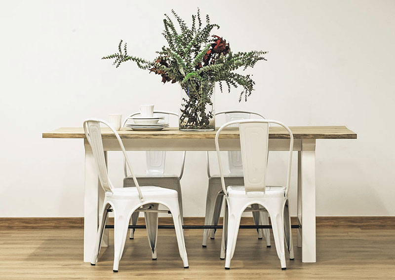 mesa de comedor de madera - patas blancas